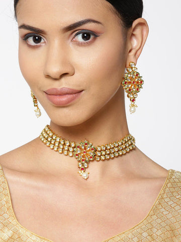 Green Kundan Pearls Gold Plated Choker