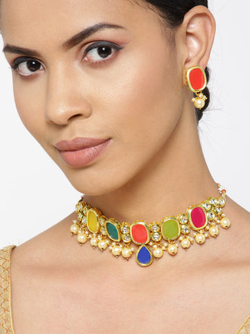 Multi-Color Stones Pearls Kundan Gold Plated Jewellery Set
