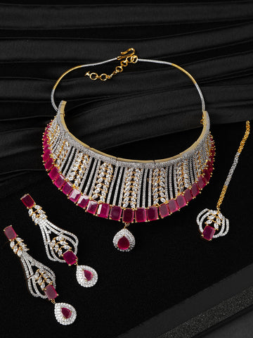 Pink Ruby American Diamond MaangTika Jewellery Set
