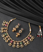 Multicolor Stones Pearls Gold Plated Jewellery Set