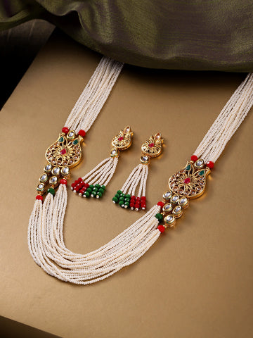 White Beads Kundan Ruby Emerald Gold Plated Ranihaar Jewellery Set