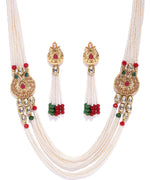 Priyaasi Gold Plated Kundan Studded Multistranded Beads Jadau Jewellery Set