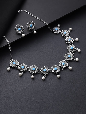Turquoise Blue Beads Paerls German Silver Oxidised Floral Jewellery Set