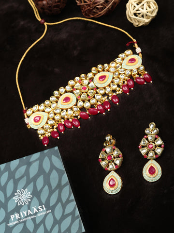 Ruby Kundan Beads Gold Plated Meenakari Choker Set
