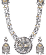Priyaasi Dual Toned CZ Studded Goddess Durga Inspired Temple Jewellery Set