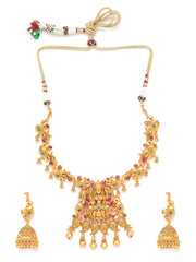 Ruby Emerald Gold Plated Temple Jewellery Set