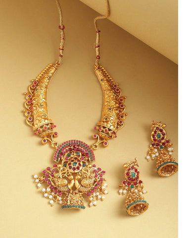 Ruby Emerald Beads Gold Plated Peacock Jewellery Set