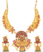 Priyaasi Matte Gold Plated Multicolor Stoned Peacock Inpired Jewellery Set