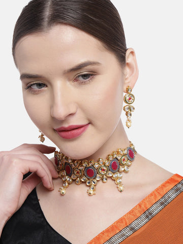 Kundan Ruby Pearls Gold Plated Choker
