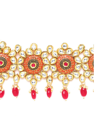 Red Meenakari Kundan Pearls Gold Plated Choker