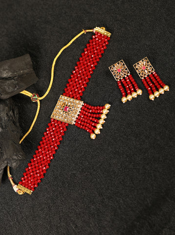 Red Beads Pearls Kundan Gold Plated Choker