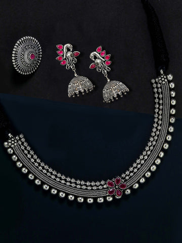 Ruby German Silver Oxidised Peacock Jewellery Set & Ring