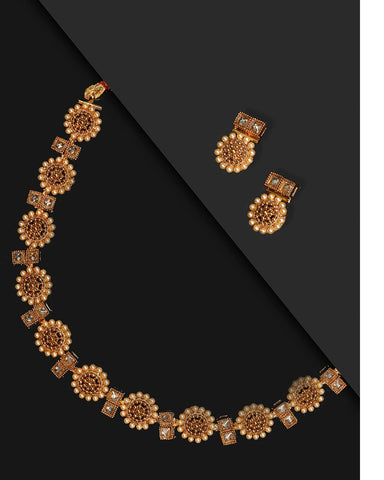 Stones Beads Gold Plated Floral Jewellery Set