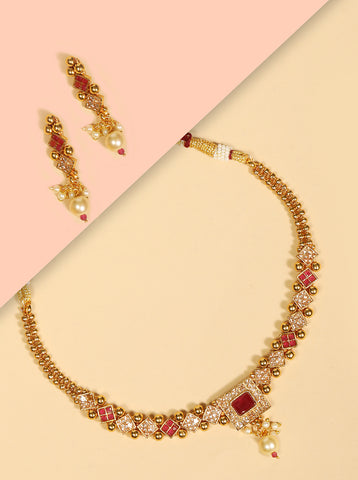 Ruby Stones Pearls Beads Gold Plated Jewellery Set
