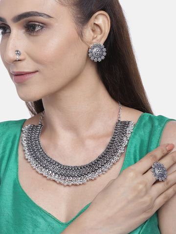 German Silver Oxidised Ghungroo Jewellery Set With Ring & Nosepin