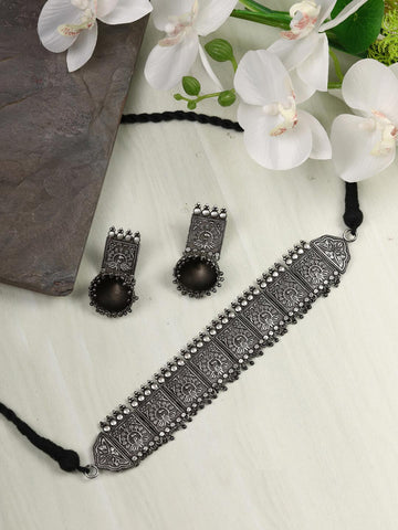 German Silver Oxidised Square Choker