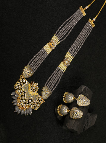 Grey Pearls Beads Kundan Gold Plated Ranihaar Jewellery Set