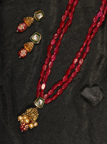 Red Pearls Beads Gold Plated Jewellery Set