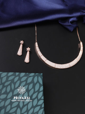 Rose Gold American Diamond Jewellery Set