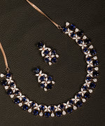 Blue American Diamond Rose Gold Plated Floral Jewellery Set