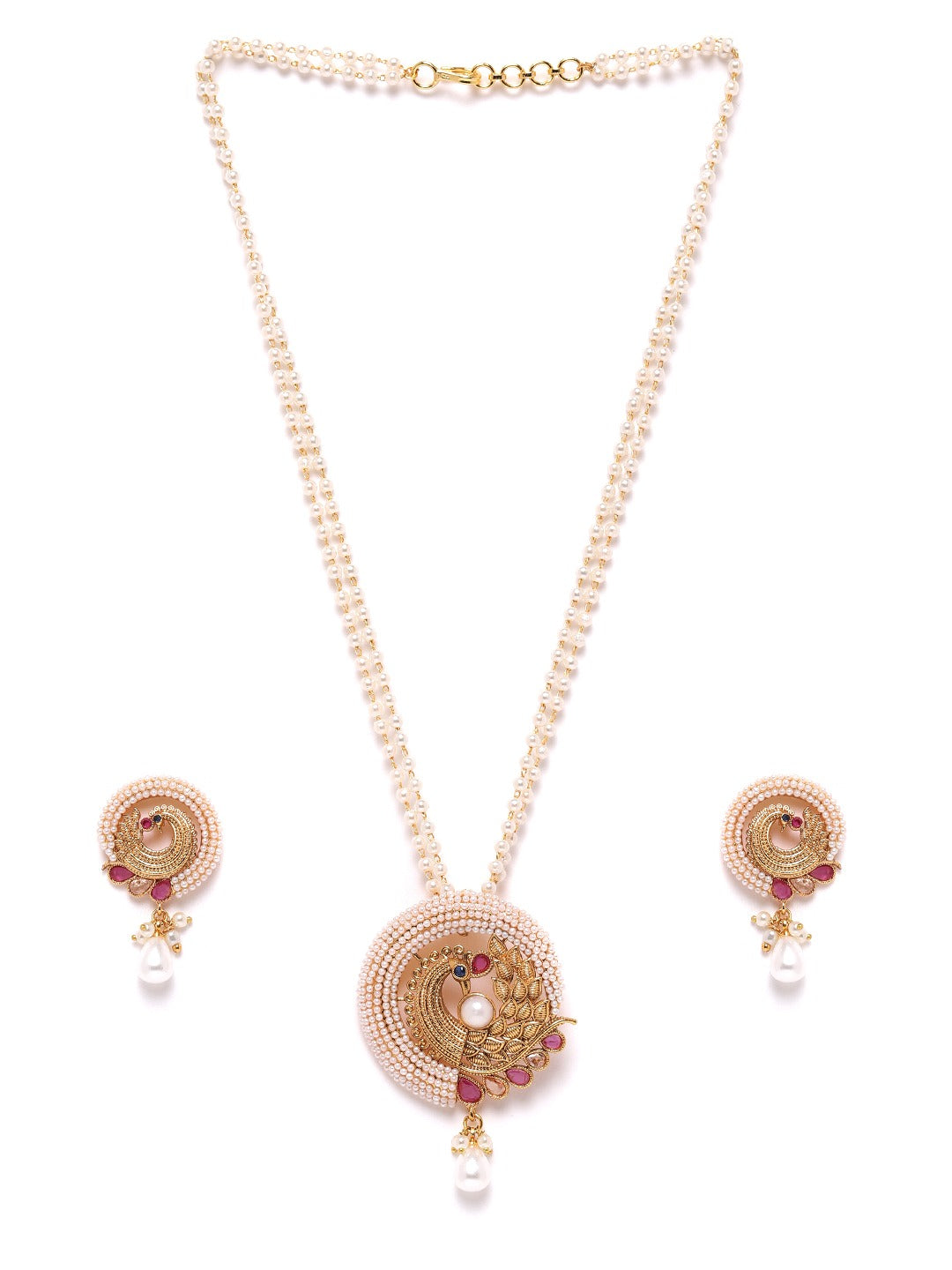 Beads Pearls Gold Plated Peacock Jewellery Set