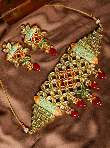 Mint Green Kundan Gold Plated Meenakari Choker