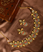 Blue Kundan Ruby Pearls Meenakari Jewellery Set