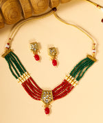Multi-Color Kundan Ruby Beads Gold Plated Jewellery Set