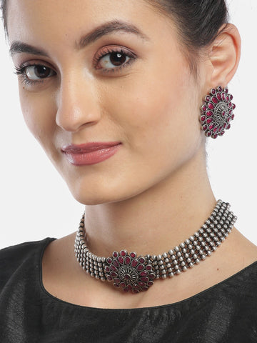 Ruby German Silver Oxidised Choker