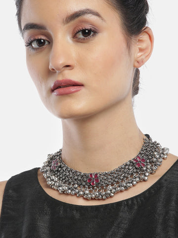 Ruby German Silver Oxidised Ghungroo Necklace