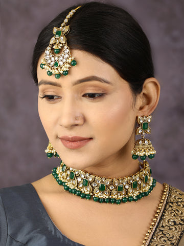 Green Stones Emerald Beads Kundan Gold Plated Traditional MaangTikka Choker