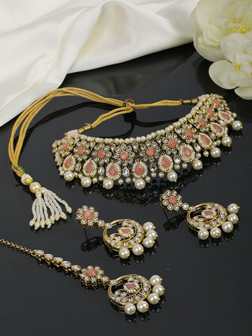Pink Stone Kundan Pearls Beads Gold Plated Traditional MaangTika Choker