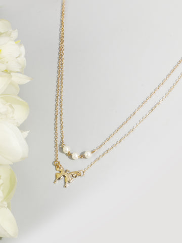 Gold Plated Butterfly Pearls Layered Necklace