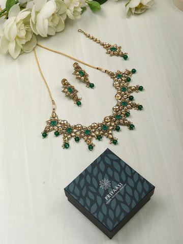 Emerald Kundan Gold Plated Jewellery Set with Maang Tikka