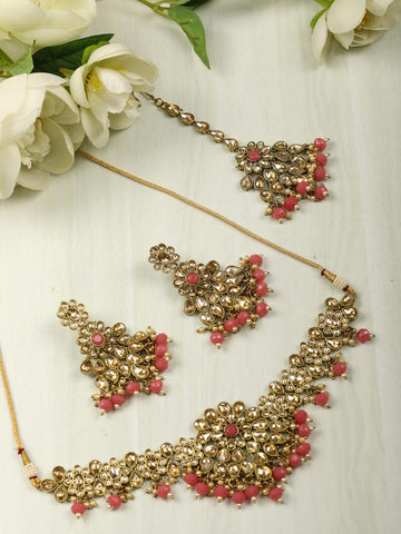 Pink Pearls Kundan Gold Plated Choker Set