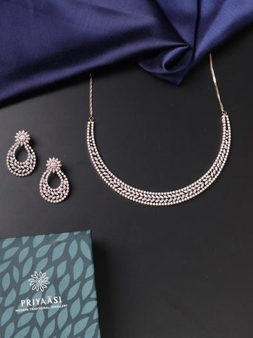 Rose Gold Plated American Diamond Jewellery Set