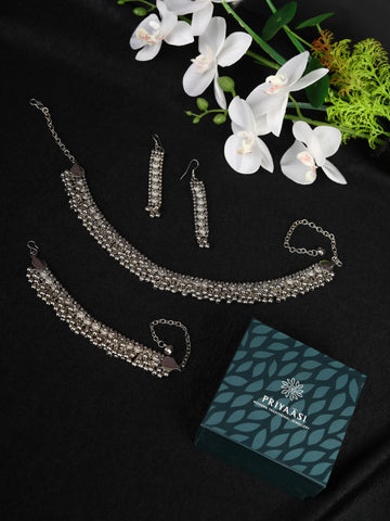 Silver Plated Oxidised Jewellery Set with Bracelet