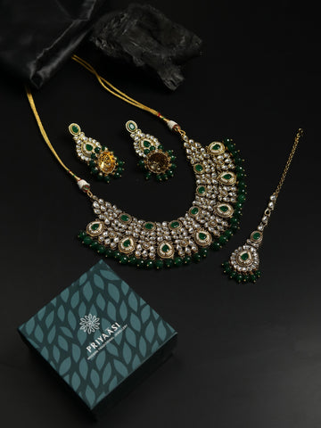 Green Pearls Beads Kundan Emerald Gold Plated Choker Set with Maang Tikka