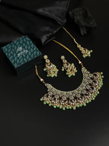 Mint Green Pearls Beads Kundan Gold Plated Choker Set with Maang Tikka
