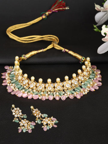 Multi-Color Pearls Beads Kundan Gold Plated Jewellery Set