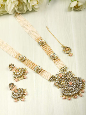 Multi-Color Beads Pearls Gold Plated Rani Haar with Maang Tikka