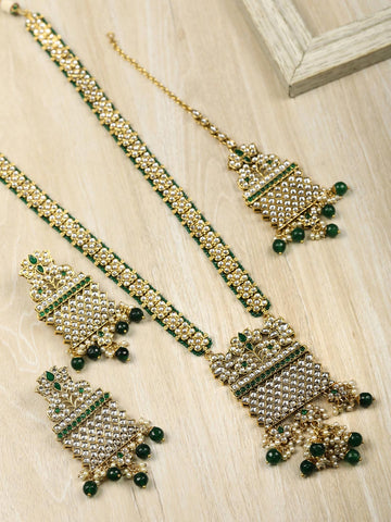 Green Beads Kundan Emerald Gold Plated Rani Haar with Maang Tikka