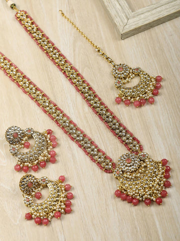 Pink Beads Pearls Kundan Gold Plated Rani Haar with Maang Tikka