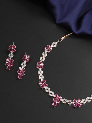 Ruby American Diamond Rose Gold Plated Jewellery Set