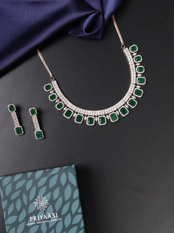 Emerald American Diamond Rose Gold Plated Jewellery Set
