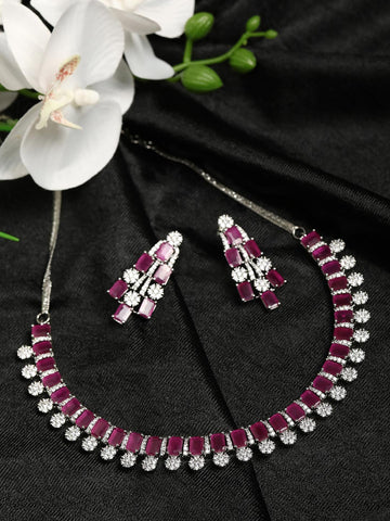 Ruby American Diamond Silver Plated Jewellery Set