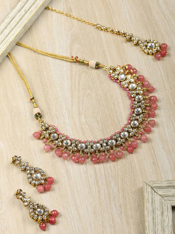 Pink Beads Pearls Kundan Gold Plated Jewellery Set with Maang Tikka