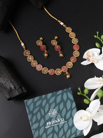 Ruby Kundan Pearls Gold Plated Jewellery Set