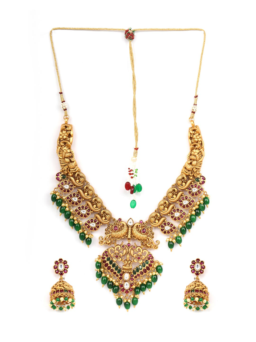 Emerald Ruby Pearls Beads Stones Gold Plated Peacock Choker Set