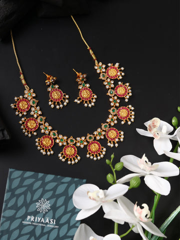 Ruby Beads Stones Gold Plated Temple Jewellery Set